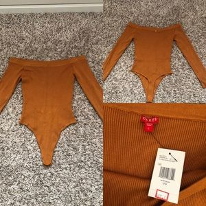NWT Guess Zoelle Mustard Sweater Bodysuit Size L!